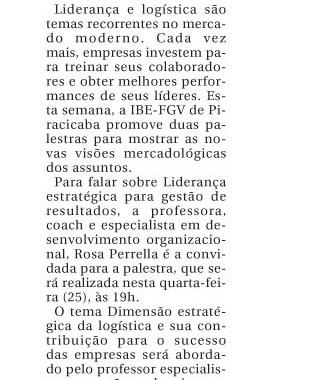 Palestras: Liderança E Logística – Gazeta De Piracicaba
