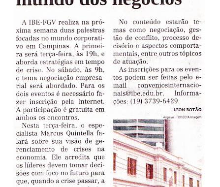 Jornal Todo Dia – Palestras Na IBE Conveniada FGV Pós-MBA