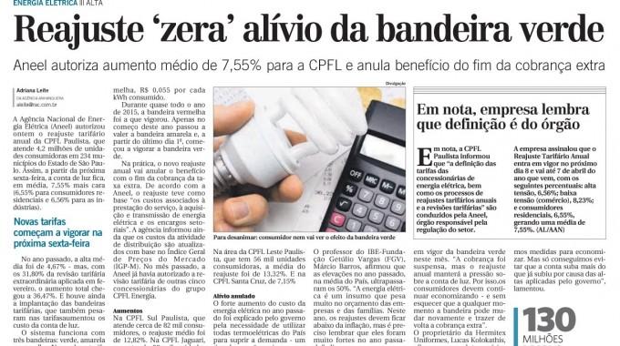 """Reajuste Zera """"alívio"""" Da Bandeira Verde"""
